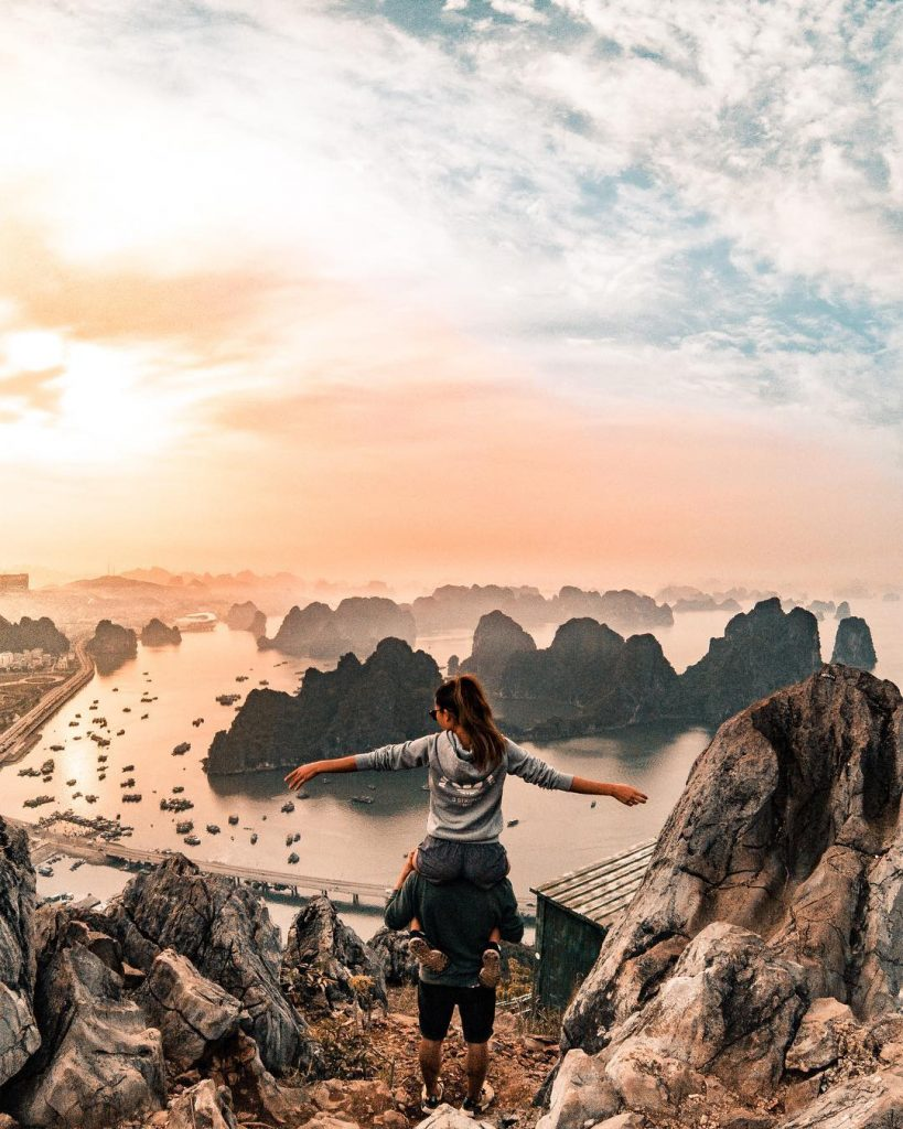 Northern Vietnam travel- beautiful places in Northern Vietnam-From Bai Tho mountain, visitors can admire Ha Long Bay in wonderful view. By: @thefreedomcomplex