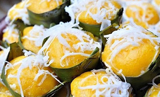 Chau Doc Cow Cake made from rice powder, palm sugar and yeast. Photo: Collection